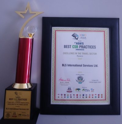 BLS International wins the prestigious Excellence in the Travel Sector
